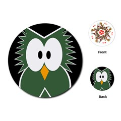 Green owl Playing Cards (Round)