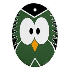 Green owl Oval Ornament (Two Sides)