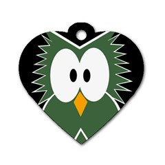Green owl Dog Tag Heart (Two Sides)