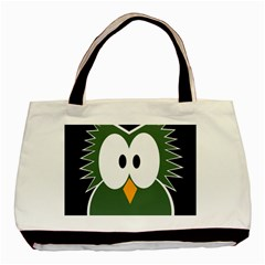 Green owl Basic Tote Bag (Two Sides)