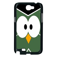 Green owl Samsung Galaxy Note 2 Case (Black)