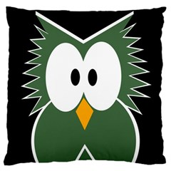 Green owl Large Flano Cushion Case (Two Sides)