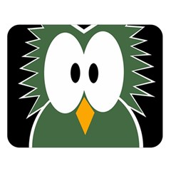Green owl Double Sided Flano Blanket (Large)