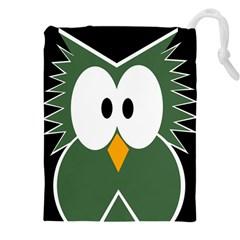 Green owl Drawstring Pouches (XXL)