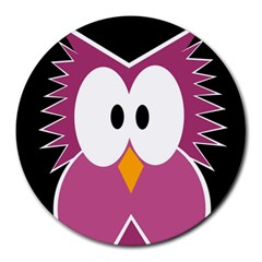 Pink owl Round Mousepads