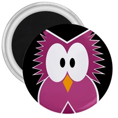 Pink owl 3  Magnets