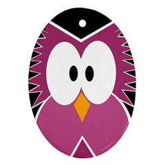 Pink owl Ornament (Oval)