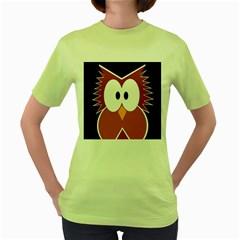 Pink owl Women s Green T-Shirt