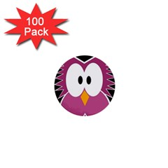 Pink owl 1  Mini Buttons (100 pack)