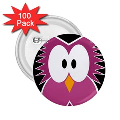 Pink owl 2.25  Buttons (100 pack)