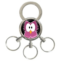 Pink owl 3-Ring Key Chains