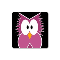 Pink owl Square Magnet