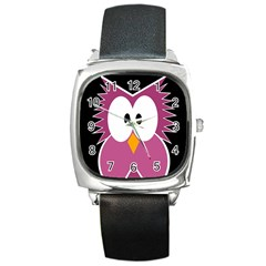 Pink owl Square Metal Watch