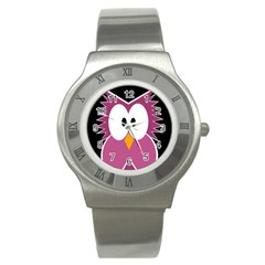 Pink owl Stainless Steel Watch