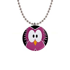 Pink owl Button Necklaces