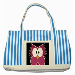 Pink owl Striped Blue Tote Bag
