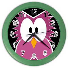 Pink owl Color Wall Clocks