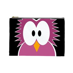 Pink owl Cosmetic Bag (Large)