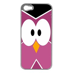 Pink owl Apple iPhone 5 Case (Silver)