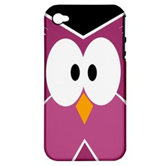 Pink owl Apple iPhone 4/4S Hardshell Case (PC+Silicone)