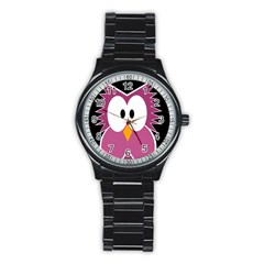 Pink owl Stainless Steel Round Watch