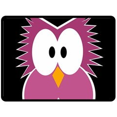 Pink owl Double Sided Fleece Blanket (Large)