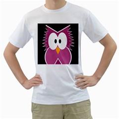 Pink owl Men s T-Shirt (White)