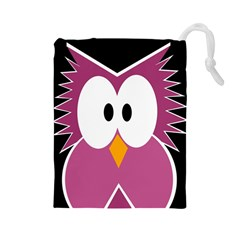 Pink owl Drawstring Pouches (Large)