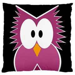 Pink owl Large Flano Cushion Case (Two Sides)