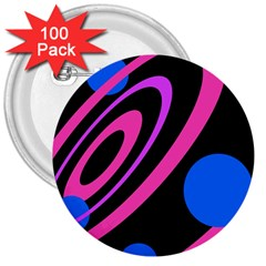 Pink and blue twist 3  Buttons (100 pack)