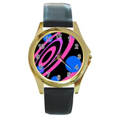 Pink and blue twist Round Gold Metal Watch