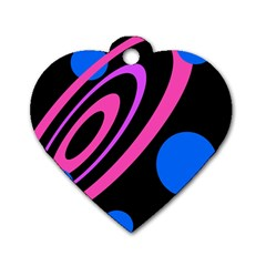 Pink and blue twist Dog Tag Heart (Two Sides)