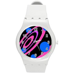 Pink and blue twist Round Plastic Sport Watch (M)