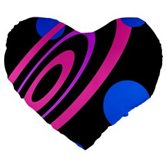 Pink and blue twist Large 19  Premium Heart Shape Cushions