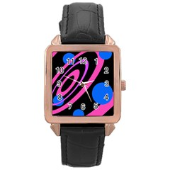 Pink and blue twist Rose Gold Leather Watch