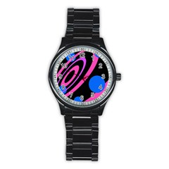 Pink and blue twist Stainless Steel Round Watch