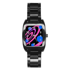 Pink and blue twist Stainless Steel Barrel Watch