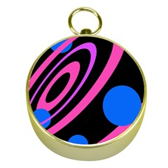 Pink and blue twist Gold Compasses