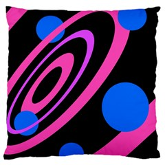 Pink and blue twist Large Flano Cushion Case (One Side)