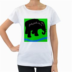 Elephand Women s Loose-Fit T-Shirt (White)