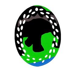 Elephand Oval Filigree Ornament (2-Side)
