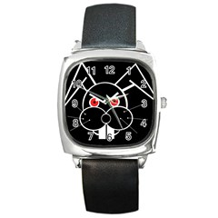 Evil rabbit Square Metal Watch