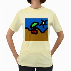 Beach Women s Yellow T-Shirt
