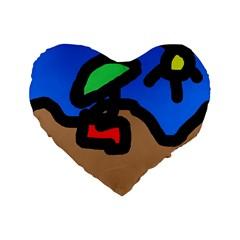 Beach Standard 16  Premium Flano Heart Shape Cushions