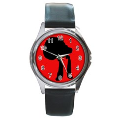 Red and black abstraction Round Metal Watch