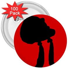 Red and black abstraction 3  Buttons (100 pack)