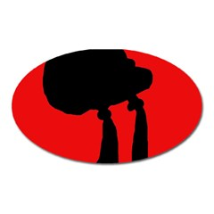 Red and black abstraction Oval Magnet