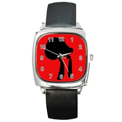 Red and black abstraction Square Metal Watch