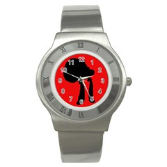 Red and black abstraction Stainless Steel Watch