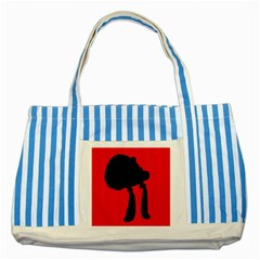 Red and black abstraction Striped Blue Tote Bag